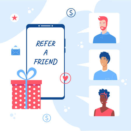 Refer a friend concept. Smartphone with gift box.