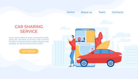 Car sharing concept. Mobile application. Vector illustration.