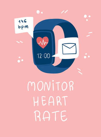 Smart watch with email and heart rate icons. Monitor heart rate lettering.