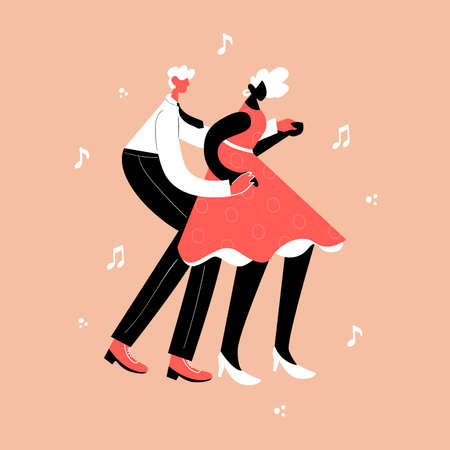 Retro party dance concept. Black young couple dancing swing, lindy hop, rock n roll. 向量圖像