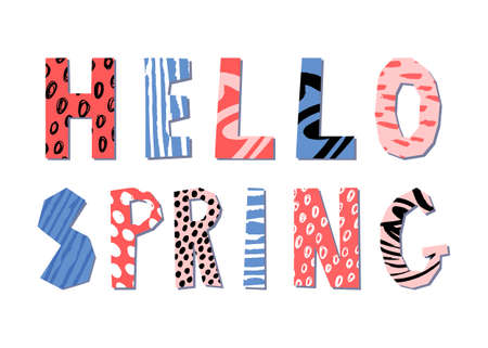 Hello spring hand drawn lettering. Vector illustration. Poster design with abstract pattern.