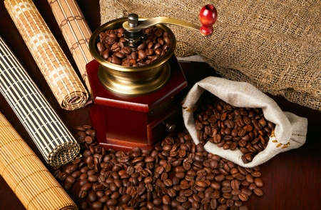 hot coffees: coffee beans in a hand mill Stock Photo