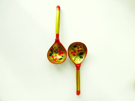 tradition: Russian wooden spoons tradition drawing tableful celebration material Stock Photo