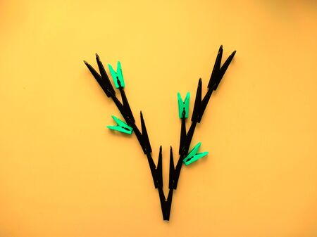 clothespins: The idea for the clothespins creative mind Stock Photo