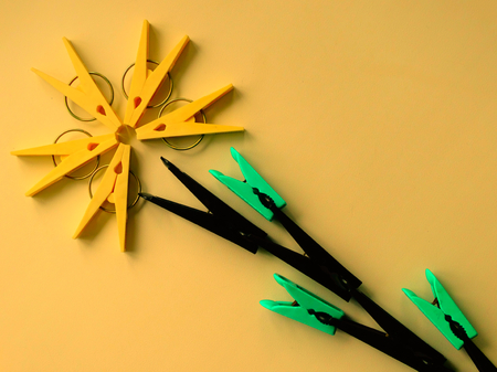 creative idea: The idea for the clothespins creative mind Stock Photo
