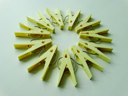 housework: clothespins for clothes housework drying clamp attach Stock Photo