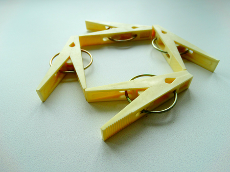 clamp: clothespins for clothes housework drying clamp attach Stock Photo
