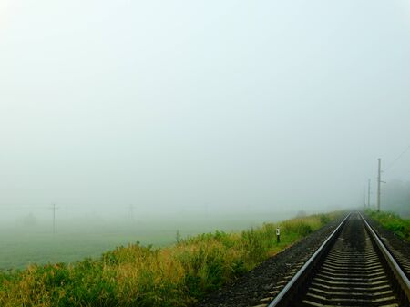 climate morning: Railway in fog nature rails sleepers field meadow summer climate morning grass scope Russia