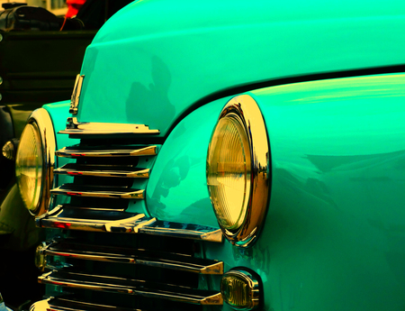 50s: Old retro car on exhibition 40s 50s 60s vintage style time generation rarity