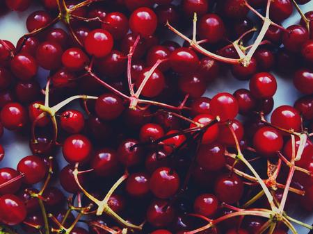Red viburnum on a table berry food season autumn vitamins benefit Stock Photo