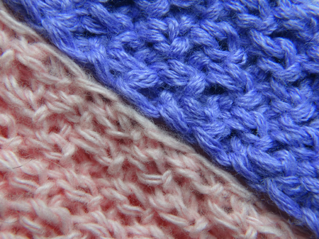 fabric textures: Fabric Knitting clothes backgrounds minimalism textures closeup thread material wool color blue pink Stock Photo