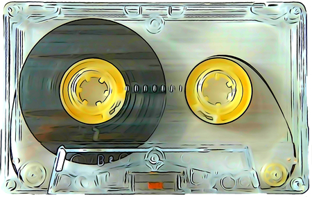 90s: Audio cassettes for recorder 80s 90s 70s retro vintage old music Stock Photo