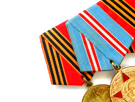 Medals for winning the war veterans heroes reward 9 May celebration memory Stock Photo