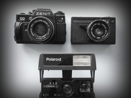 Old camera Zenith,Polaroid and Triplet vintage collection retro fashion style design 70s 80s 90s Editorial