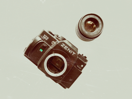 Old camera Zenith vintage style retro background wallpaper photography style design lens 70s 80s 90s