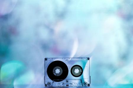Audio cassettes for recorder bokeh lights backgrouns wallpaper texture colorful beautiful retro vintage old 70s 80s 90s hits closeup effect nostalgia party dance