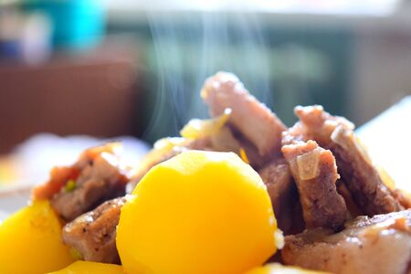 delicious boiled potatoes with pieces of fried pork, healthy nutrition Archivio Fotografico
