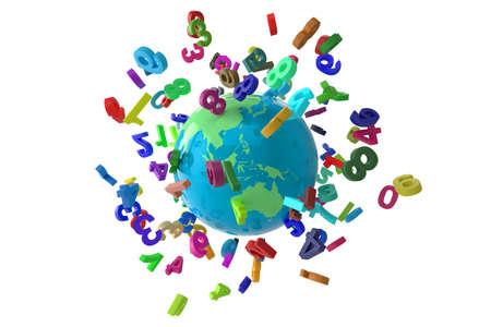 Numbers Globe colorfull