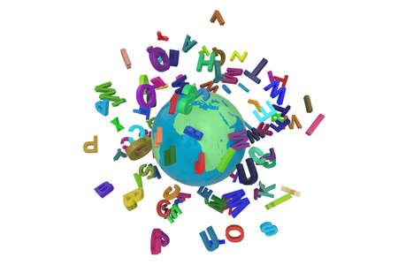 Alpabet letters globe