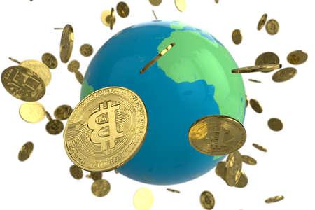Bitcoin coin globe
