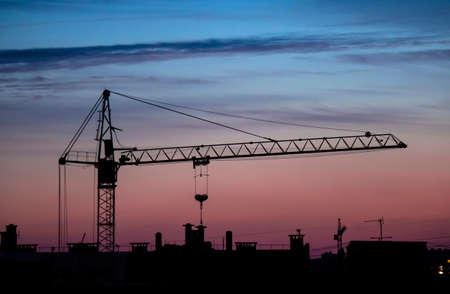 building crane sunset Archivio Fotografico