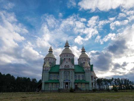 beautiful church cloudy sky background