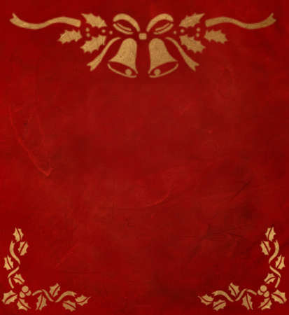 xmas background: A red and gold christmas texture with bells and mistletoe.