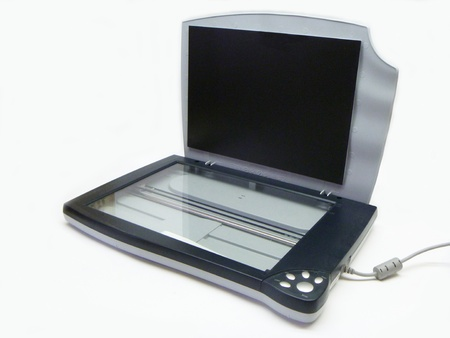 Electronic scanner on white background photo