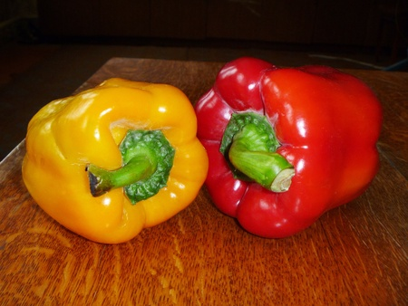 Red and yellow pepper photo
