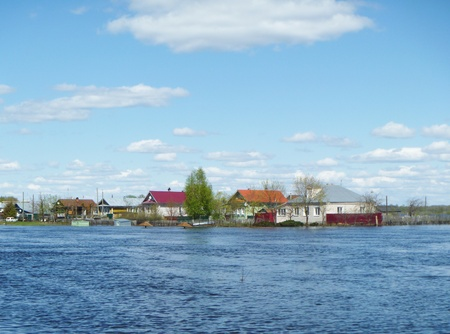 Spring flood in village photo