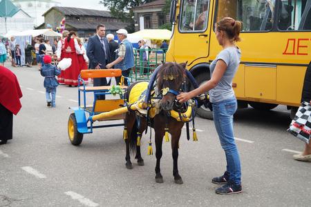 carretilla de mano: Chica con caballo peque�o y carretilla de mano paseo Editorial
