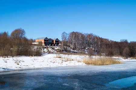 landscape riverside: Landscape with riverside cottage