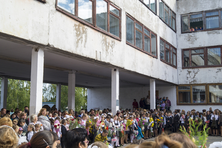 first day of school: School straightedge at day of the knowledges of the first September in city Mstera,Russia