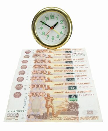 roubles: Money bills since round hour are insulated on white background