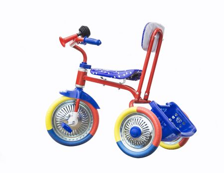 insulated: Colour tricycle is insulated on white background