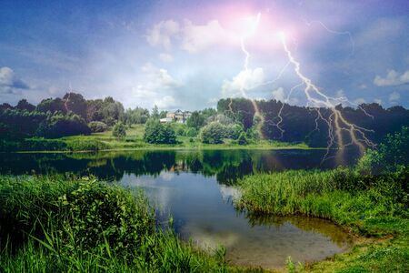 eminence: Beautiful landscape of the nature with river on background sky with bright lightning
