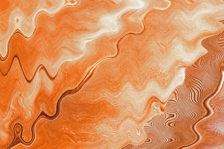 manner: Bright orange background with crooked line in the manner of waves