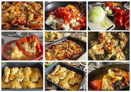 Collage from photography of meal with chicken meat. The Tasty dinner with dietetic meat of the hen. Hot guard;keep on kitchen table