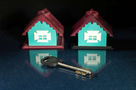 The Key and lodge with reflection on black background. The Plastic toy. Subject close-up 版權商用圖片