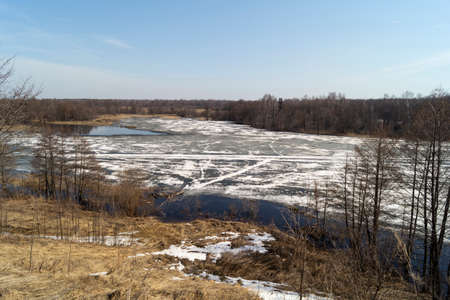 White ice on the river in the spring time.