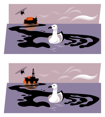 Illustration of oil rig or sinking oil tanker releasing oil into the sea, forming a hand shape grabbing a sea bird