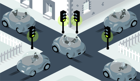 Illustration of self driving cars crossing on busy intersection, where lights are all set to green