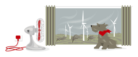 Illustration of desk fan blowing a dogs face. Outside, wind is powering a wind farm and bending trees