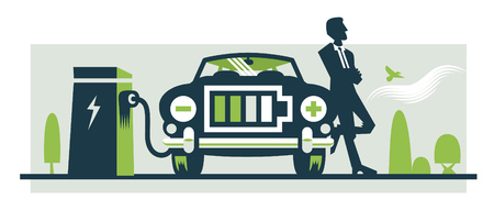 Illustration of electric car being recharged, the front grille is a battery icon