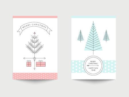 minimal: Tarjetas de Navidad fijaron Vectores