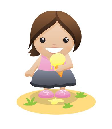 eating ice cream: Little girl with ice cream Illustration