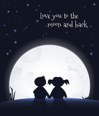 Love you to the moon and back  イラスト・ベクター素材