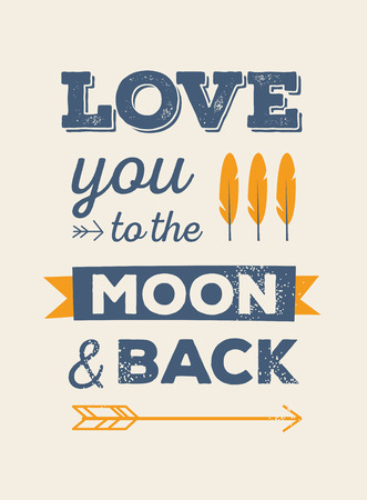 love you: Love you to the moon and back Illustration