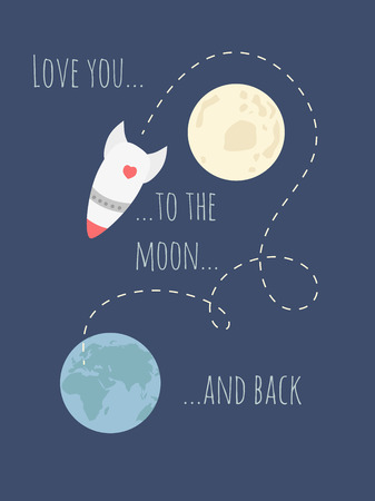 of back: Love you to the moon and back Illustration
