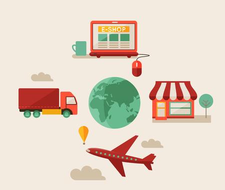 Eshop, online shopping, infographic, flat design
